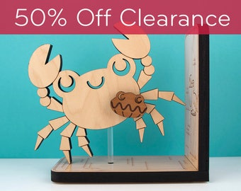 Wood Nursery Animal Bookend: Ocean Crab Baby, Kids Wooden Under the Sea, Underwater, Nautical Room Decor