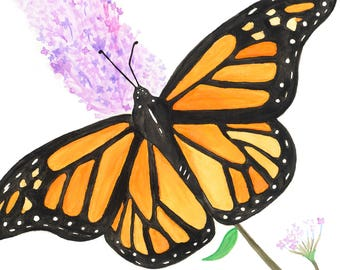 Print of Monarch Watercolor Painting