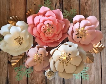 Flash SALE pinks, white and blush Set of 6 flowers.  FREE SHIPPING -  ships in 2 buisnessdays