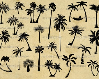 Digital SVG PNG JPG Palms Tree, vector, clipart, silhouette, instant download