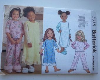 Girls nightgown / Girls Pajamas / girls pajama pants / easy/ pajama set/ 2001 sewing pattern, Sizes 6 7 8, Chest 25 26 27, Butterick 3318