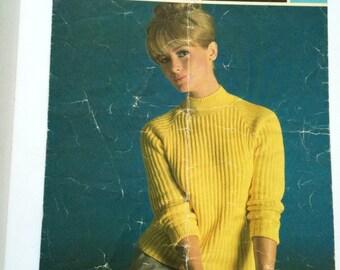 Sirdar 2246 raglan sweater turtleneck 1960s vintage pattern