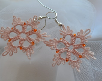 Tatted Lace Small Star Shaped Earrings in Pale Pink with beads - Nadya