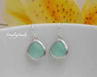 Mint  Bridesmaid Earrings, Aqua Earrings, Silver Bridesmaid Jewelry, Mom Earrings, Everyday Earrings, Sister Jewelry, Bridesmaid Gift