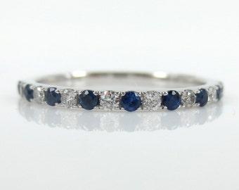 Diamond & Blue Sapphire Half-set Band  - Stacking Rings- wedding Bands