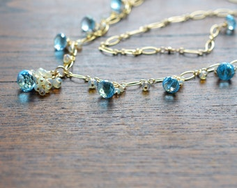 Atasi - Sky Blue Topaz, Ethiopian Opal 14k Gold Filled Necklace| December Birthstone Necklace | Bridal Jewelry