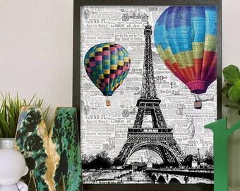 Paris Hot air balloon print, nursery wall prints, Digital Print, Paris Wall Art Print, hot air balloon decor, paris wall decor, home decor