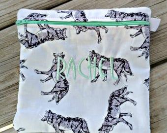 Reusable Sandwich Bag, Reusable snack bag washable bag lunch bag washable snack bag wolf dog winter party husky bag party favor reusable