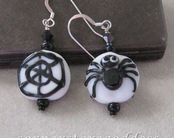 Lampwork Glass Halloween Spider Earrings EHAG by Cornerstoregoddess