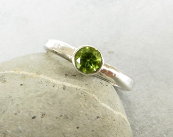 Peridot Ring, Sterling Silver Engagement Ring, Peridot Solitaire Ring, Stacking Ring, August Birthstone Ring, Green Gemstone Ring, UK Seller
