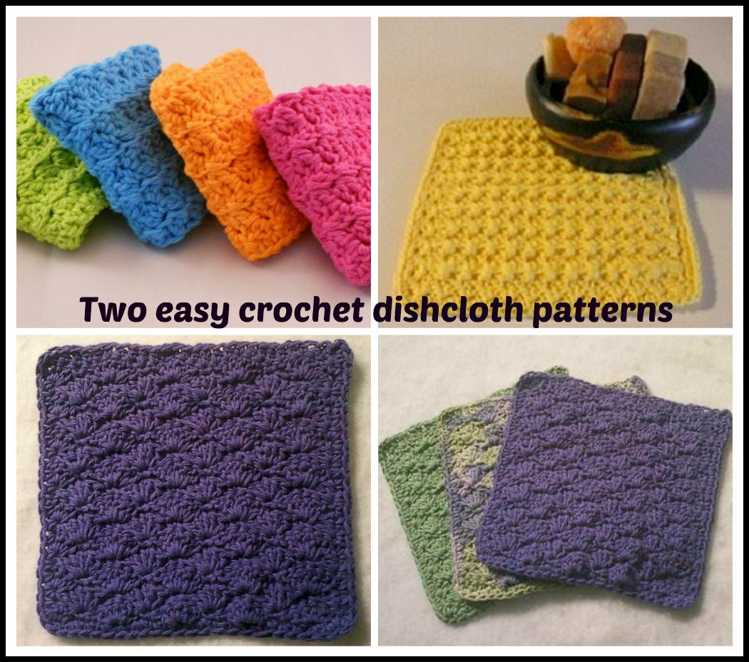 Two easy crochet dishcloth patterns from CrookedYarn on Etsy Studio