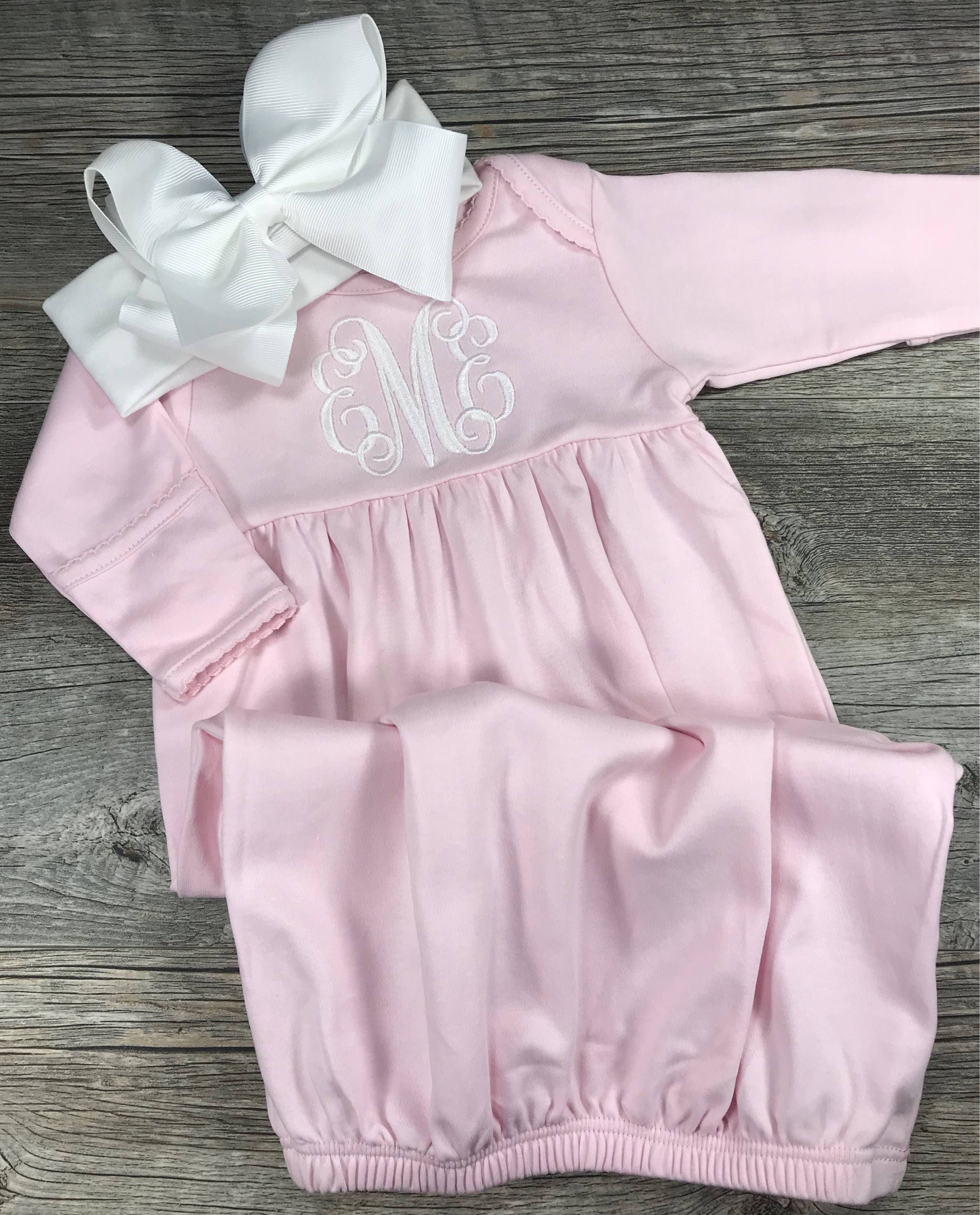 Baby Girl Coming Home Outfit Monogrammed Gown Personalized