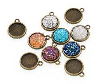 12mm Antiqued Bronze Tone Double-sided Charm Drop Pendant Tray Bezel Blanks, Single Loop Charms