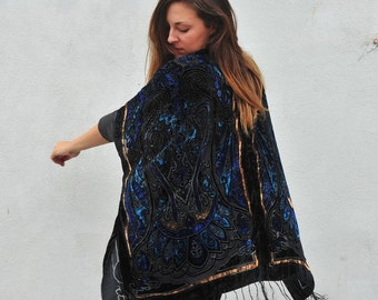 Velvet Kimono: Black, Blue and Gold Filigree Gypsy Fortune Teller Paisley Velvet Burnout Fringe Kimono Cover Up
