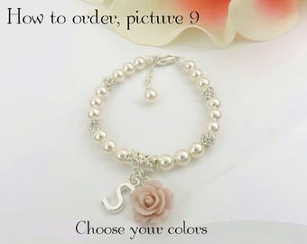 FREE US Shipping Personalized Rose And Pearl Flower Girl Bracelet With Rhinestones Flower Girl Gift Flower Girl Pearl And Letter Bracelet