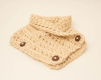 Crochet Chunky  Neck Warmer Cowl/ Scarf with  Three Wood Buttons For Teens/Adult