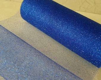 1 roll of 9 meters of tulle with Royal blue glitter width 15 cm