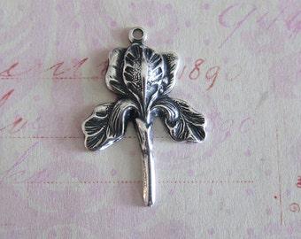 Silver Iris Charm 3745