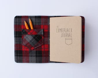 Lumberjack Journal // red leather and red plaid, book, lumberjane, pocket, notebook, journal, blank journal, blank book, travel journal
