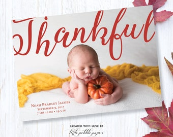 Thanksgiving Birth Announcement, Thanksgiving Newborn Card, Baby Announcement, Pumpkin Baby, Thanksgiving Card, Printable, Fall Card