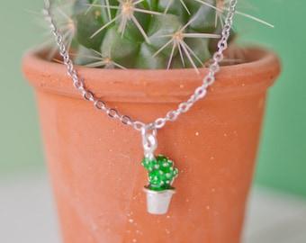 Cactus Necklace, Cactus Pendant, Silver Cactus Charm, Cactus Necklace, Cactus Gift, Succulent Jewellery, Succulent Charm