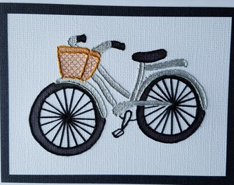 Hand-Stitched Silver Bicycle Note Cards - pack of five
