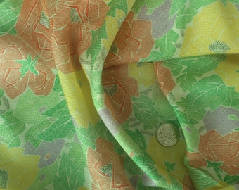"Vintage Japanese silk kimono fabric country garden camellia 36"" x 14"" rinzu weave"