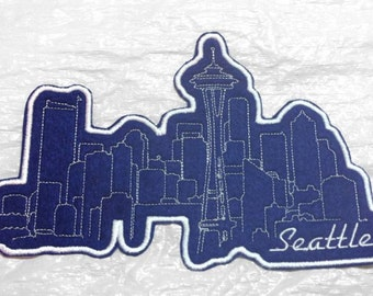 """Seattle Space Needle After Dark Skyline  Embroidered Iron on Applique 8"""" x 5.25"""" - Made in U.S.A."""