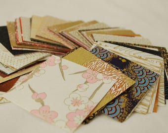 Japanese Finest Yuzen Washi Origami Paper - 200 Sheets Assortment - Approx 5.7cm - Gold Colour Theme