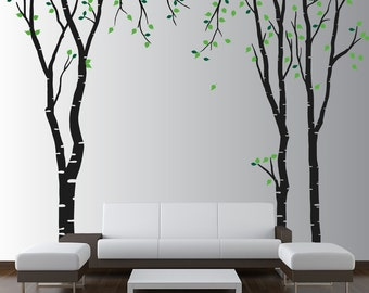 Large Wall Birch Tree Decal Forest Kids Vinyl Sticker Removable with Leaves Branches 1119 (7 foot tall)