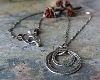 Handmade hammered silver necklace - Silver Splash Necklace