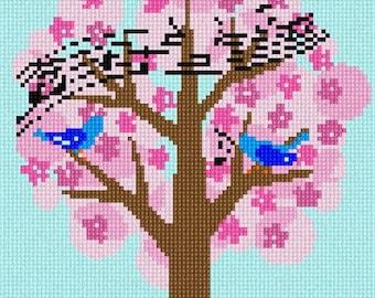 Needlepoint Kit or Canvas: Birds Singing Tree