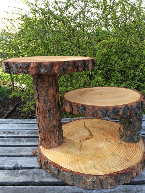 diy 3 tier wedding cake stand pine log wood rustic cake 50 cupcake collapsible stand wedding 13603