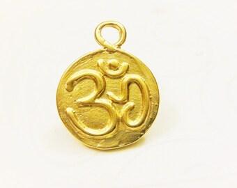 Vermeil, 18k gold over 925 sterling silver  lotus and om charm, pendant, Matte gold om charm, vermeil, om , meditation finding