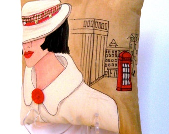 LONDON LADIES VANESSA, handpainted pillow, London Lady Series,  telephone, taupe, gift for woman, classy quote, hat,  red, Burberry,