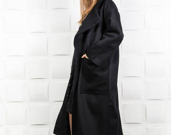Maxi coat, Black warm coat, Black plus size coat, Loose winter coat, Black cashmere coat, Plus size women coat, Maxi wool coat / C0022