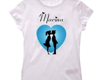 Tee shirt girl Couple kissing personalized with name