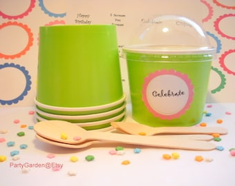 12 Lime Green Ice Cream Cups - Medium 12 oz