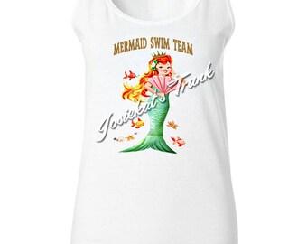 """Mermaid Shirt - Women's Mermaid Tank - """"Mermaid Swim Team"""" - Mermaid Retro T Shirt - Vintage Adult Size S M L Xl XXL"""