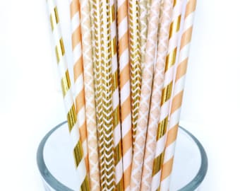 Peach Paper Straws, Peach and Gold Party Decor, Gold and Peach Bridal Shower, Baby Shower Decorations, Peach and Gold Straws, Wedding Decor