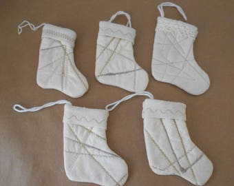 5 Small Christmas Stocking Ornaments