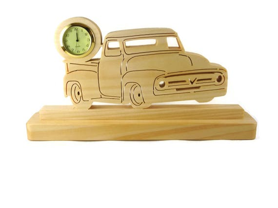 1956 Ford F100 Pickup Truck Desk Or Shelf Clock Handmade From Pine Wood By KevsKrafts, Ford F1