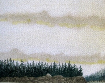 Hint of Gold - 5x7 or 8x10 Archival Giclée Print - Watercolour Archival Print - SFA (Small Format Art) - Golden Sky, Forest