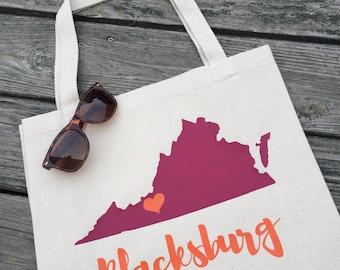 Blacksburg, Virginia Tote Bag - Maroon and Orange Virginia Tote Bag - Blacksburg Tote Bag - Virginia Canvas Bag - Reusable Virginia Tote Bag