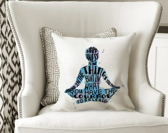 Meditation Pillow Decorative Pillows with Words Blue and Purple Pillow for Bed - Meditation Decor Meditation Room Inspirational Gifts