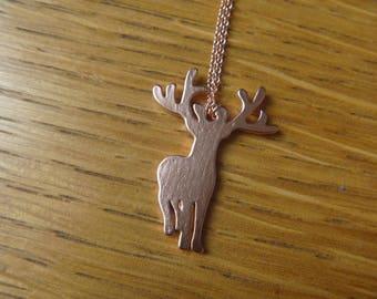 Pink gold deer necklace