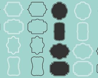 Digital frames labels tags set 24 designs including vector files black and white