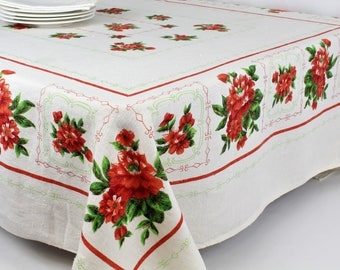 mid century table cloth, 70's vintage tablecloth, rustic linen printed, green and red, retro linen tablecloth, vintage gift for her