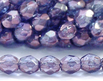 Czech Glass FP 4mm Transparent Amethyst Luster Round - 50