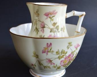 Stunning Antique Royal Worcester C51 Fluted Bowl and Creamer Jug Pink Wild Roses Bamboo Design Handle